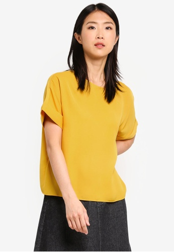 ZALORA BASICS yellow Basic Boatneck Oversized Top 42224AADA54410GS_1