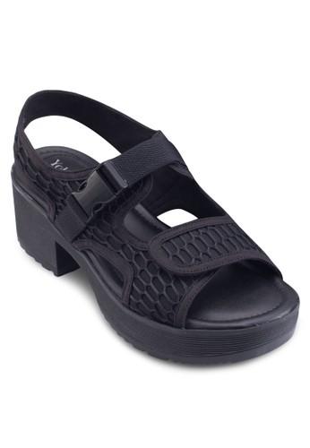 Ace esprit outlet 桃園網眼繞踝厚底粗跟涼鞋, 女鞋, 俏皮男孩風