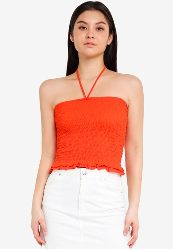 Cotton On orange Reva Rouched Halter Tube Top ADB6DAA31FB670GS_1