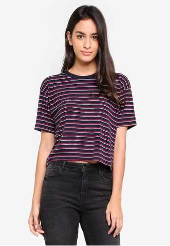TOPSHOP navy Multi Striped Boxy T-Shirt 05458AAF0E6C78GS_1
