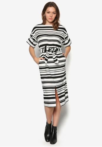 條紋腰帶及膝洋裝, zalora時尚購物網評價服飾, 及膝洋裝