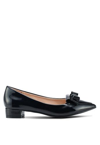 Carlton London black Block Heels With Bow Detail 19D29SH061E459GS_1