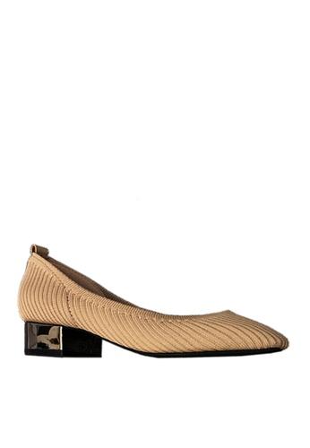 Twenty Eight Shoes beige Trendy Knitted Fabric Low Heels VL6581 7B931SH87F0807GS_1