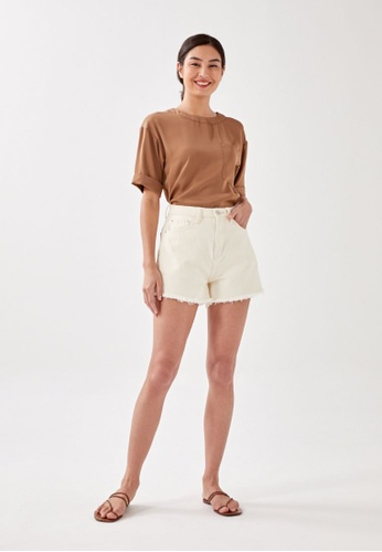 Love, Bonito brown Bethie Relaxed Pocket Tee 63487AAD7F00EFGS_1