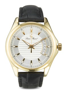 Excalibur Black Genuine Leather Silver-Tone Dial Gold-Tone