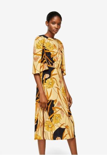 Mango yellow Flared Sleeves Dress BA379AA6BA7375GS_1