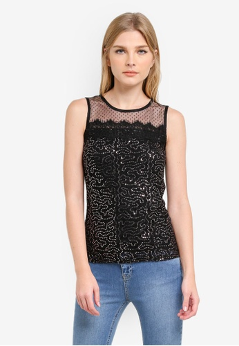 Dorothy Perkins black Sequin Mesh Trim Shell Top DO816AA0S2IQMY_1