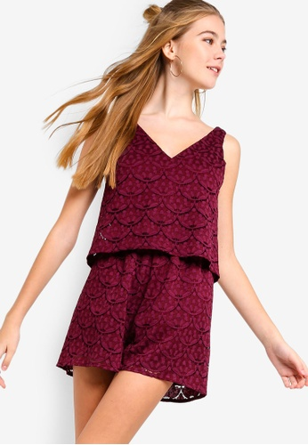 Something Borrowed purple Double-Layer Lace Playsuit 78846AA376A5F0GS_1