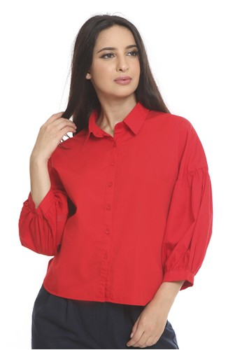 et cetera red Shirt with balloon sleeve detail 20C30AAAE46014GS_1