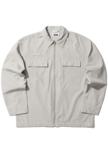 izzue beige Zip worker jacket E80E5AAA867494GS_1