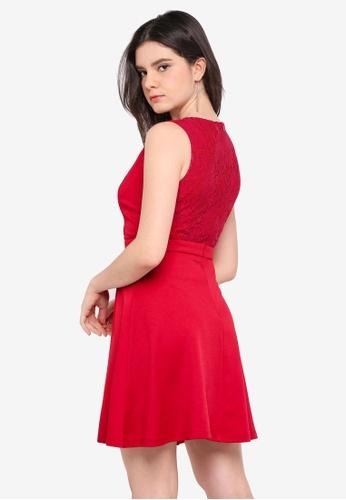 ZALORA red Lace Back Dress 349C3AA36052D5GS_1