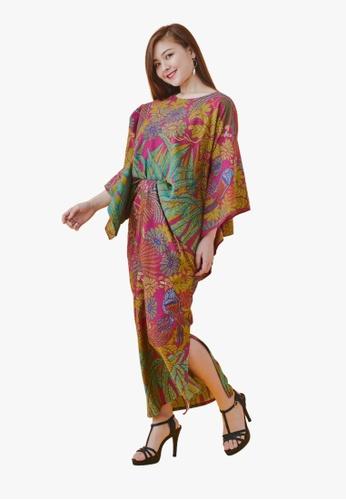 Batik by Emileeya pink and yellow and green Maryam Pareo Set in Fuchsia 05E47AA1902C29GS_1