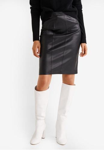 Mango black Seams Midi Skirt FE0B7AA080280BGS_1
