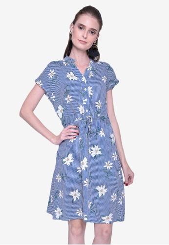 Caoros blue Collared Floral Dress A7439AA45B141FGS_1