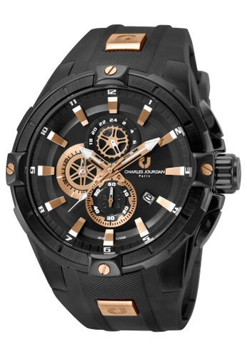 Charles Jourdan black Charles Jourdan Men CJ1040-1732C Black Silicone Watch EB135ACEF1CB34GS_1