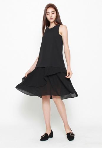QLOTHE black Ashe Pleated Hem Dress A9BB9AAA086777GS_1