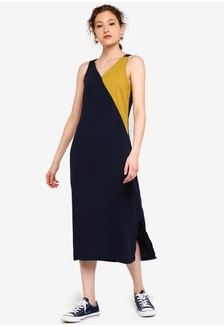 dfb9e14c13 Basic Colourblock Faux Wrap Midi Dress CF4AEAAD27F689GS_1