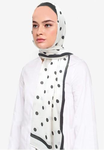 San Marco black and white Polka Dots Hijab Pashmina White FF6EBAA65E76B7GS_1