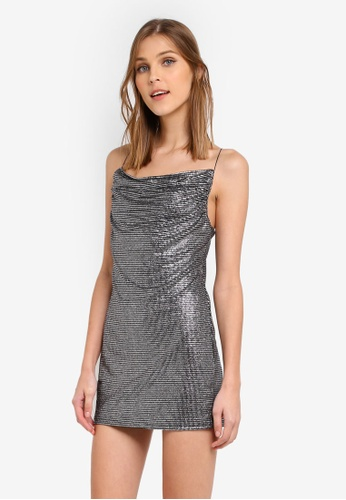TOPSHOP silver Petite Cowl Metallic Slip Dress TO412AA0SRRHMY_1