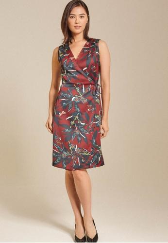 Dressing Paula red Floral Printed Satin Wrap Dress A5CA0AA6D1EBCDGS_1