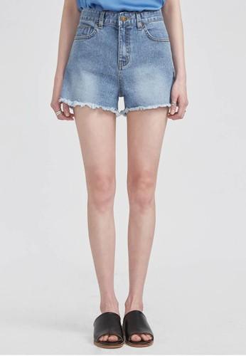 邊緣裁剪水洗牛仔短褲, 服esprit高雄門市飾, 短褲