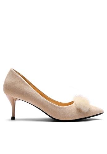 Twenty Eight Shoes 6CM Fur Ball Suede Fabric Mid Heel 208-52 3E37BSH456EAC0GS_1