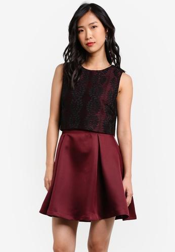 ZALORA black Double Layered Mini Dress 5DF01AA085C722GS_1
