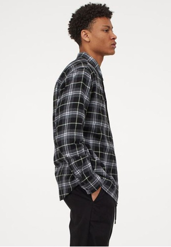 H&M black and grey and multi Cotton Flannel Shirt 9136FAAD407F4DGS_1