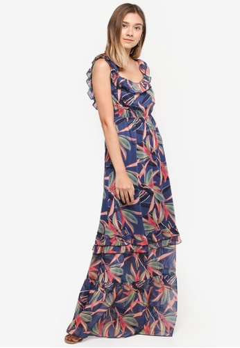 LOST INK navy Printed Ruffle Maxi Dress 38292AA5700C00GS_1