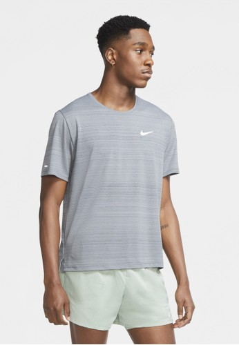 Nike grey Men's Dri-FIT Miler Running Top 9485BAA77C8891GS_1