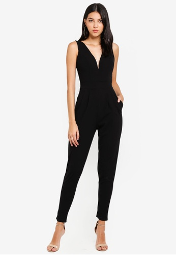 WALG black Boned And Cupped Printed Jumpsuit C71EAAAF63BB02GS_1