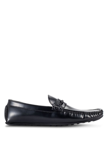 UniqTee black Moccasins With Braided Detail UN097SH80RQPMY_1