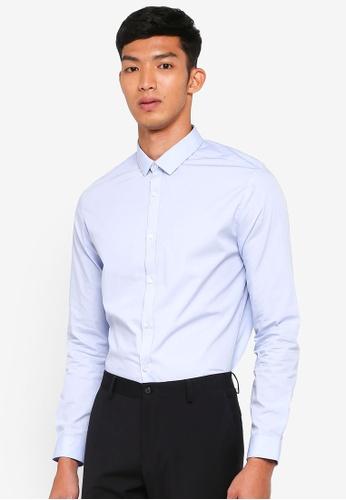 River Island blue Blue Slim Fit Long Sleeve Shirt 1E886AA2AA9D94GS_1
