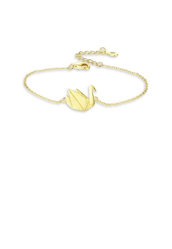 Glamorousky silver 925 Sterling Silver Plated Gold Fashion Elegant Swan Bracelet 8AA0AAC112D27DGS_1