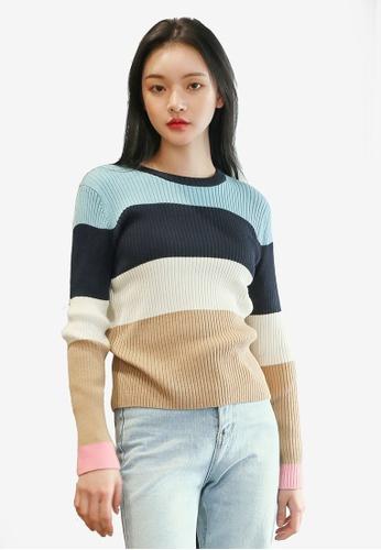 18b47237e84e27 Shop NAIN Colour Block Knit Top Online on ZALORA Philippines