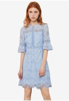 fe6db6f5becf48 Hopeshow blue Lace Design Dress 48061AA232AC6BGS 1