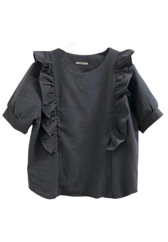 Sunnydaysweety black Korean Style Lantern Sleeve with Ruffle T-shirt Top A21032009BK 53E14AAFC322DBGS_1