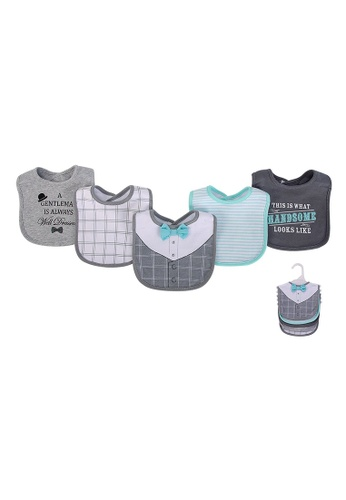 Little Kooma grey and white and blue Baby 5pc Interlock Bibs 75509 - 0821 1EACBKC8CDF1A2GS_1