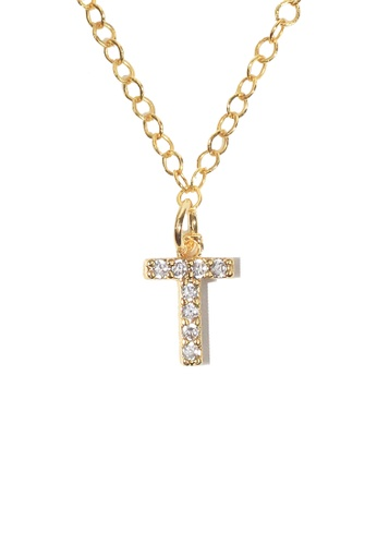 PSYNDROME gold Personalised Initial Letter Alphabet Cubic Zirconia Necklace - T 0F50BAC1521BABGS_1