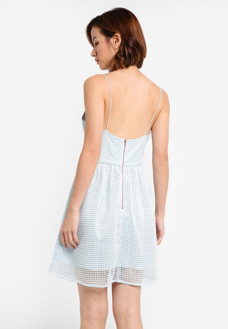 ZALORA Blue Dress Mini Crochet Aqua Knit qBtPXp