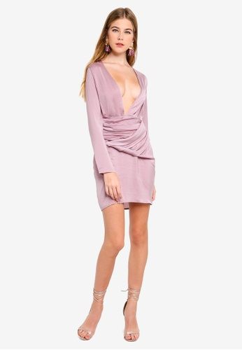 c336ce0130 Buy MISSGUIDED Silky Long Sleeved Panelled Shift Online on ZALORA Singapore