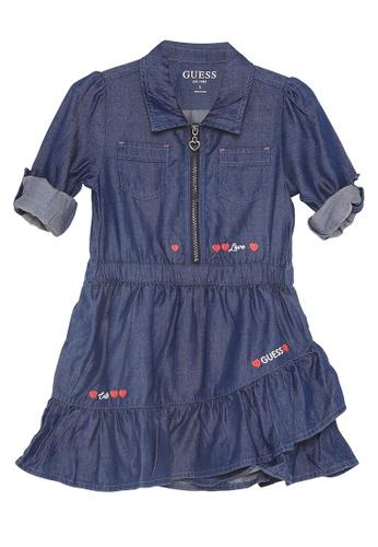 Guess blue Chambray Long Sleeve Dress 382F8KA6346993GS_1