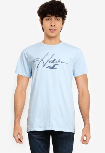 Hollister blue Tech Micro Script T-Shirt FEFF4AAEDA8552GS_1