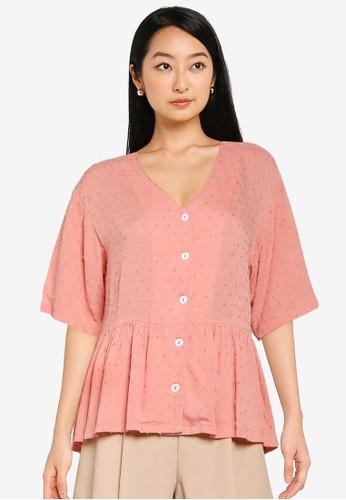 ZALORA BASICS pink V Neck Textured Top 0B61CAA3AC2AFAGS_1