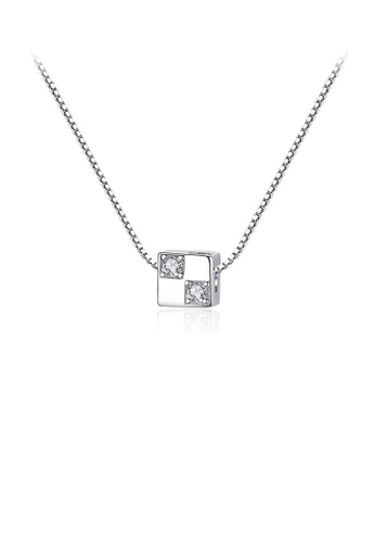 Glamorousky white 925 Sterling Silver Simple and Delicate Geometric Square Pendant with Cubic Zirconia and Necklace B6264ACE5DAB64GS_1