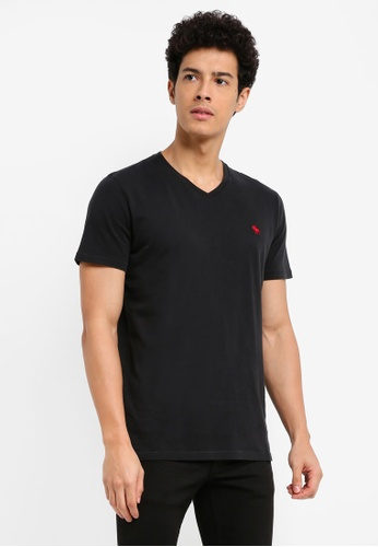 Abercrombie & Fitch black Global Pop Icon Crew V-Neck T-Shirt 61751AA90FC12EGS_1
