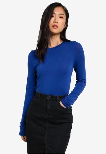 Stylenanda blue Soft Long Sleeve Top ST343AA0RV78MY_1