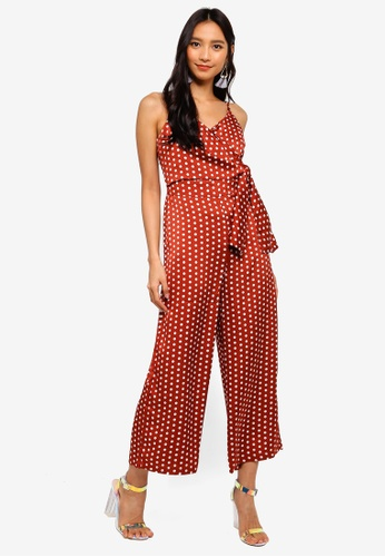 MISSGUIDED red Polka Dot Tie Side Culotte Jumpsuit D0CD5AAB48E1E9GS_1