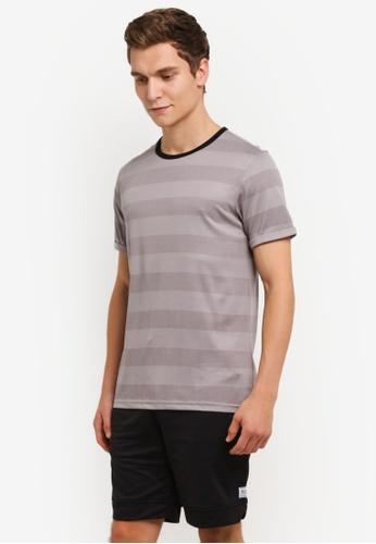 UniqTee 灰色 灰色 Salt And Pepper Stripe T卹 UN097AA0RS5DMY_1