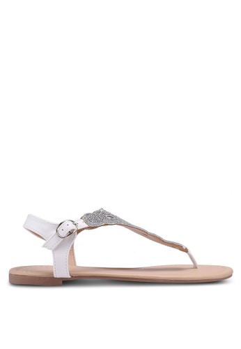 Dorothy Perkins white and silver Widefit White Fierce Sandals 1BB22SHBB52FFFGS_1